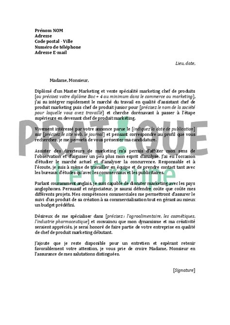 Lettre De Motivation De Marketing Application Letter Sle Mod 232 Le De Lettre De Motivation D 233 Butant
