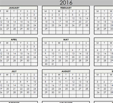 2016 planner printable excel 2016 printable calendar my excel templates