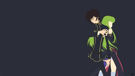 lelouch and c c code geass minimalist wallpaper by