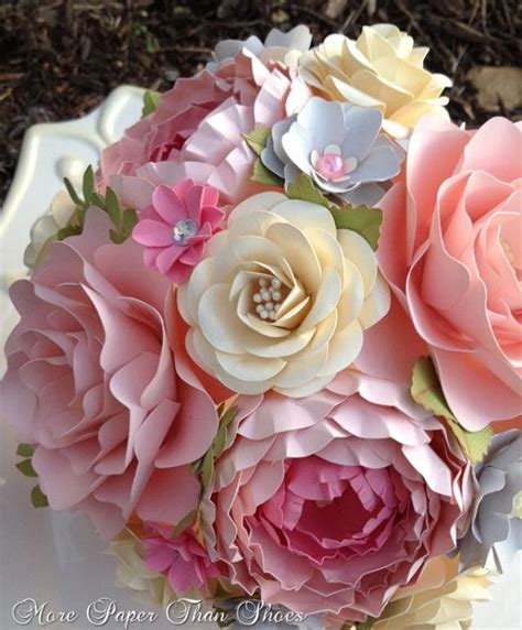 gray shabby chic flowers by paper flower bouquet wedding bouquet shabby chic pink and grey made to order any color