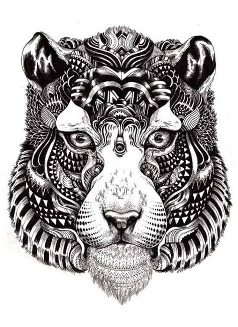 pattern drawing tiger dibujos sin colores inspirados en la vida silvestre