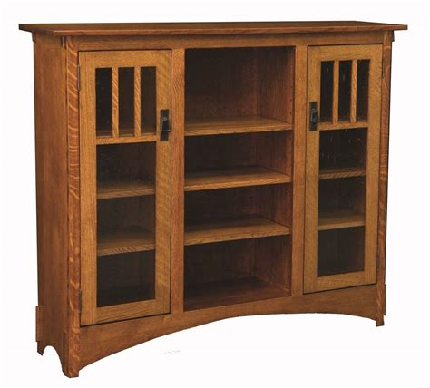 amish mission arts and crafts display bookcase solid wood
