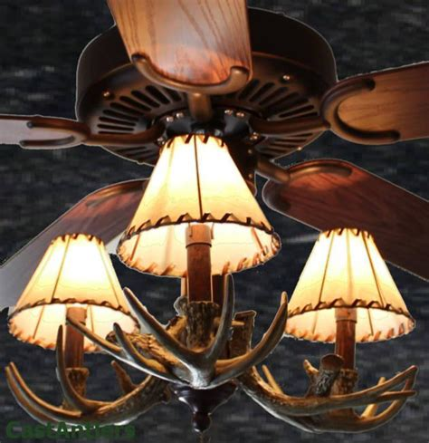 antler chandelier ceiling fan standard size fans 52 quot reproduction 3 light antler