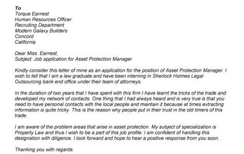 Asset Protection Manager Cover Letter by Protection One Application Security Guards Companies