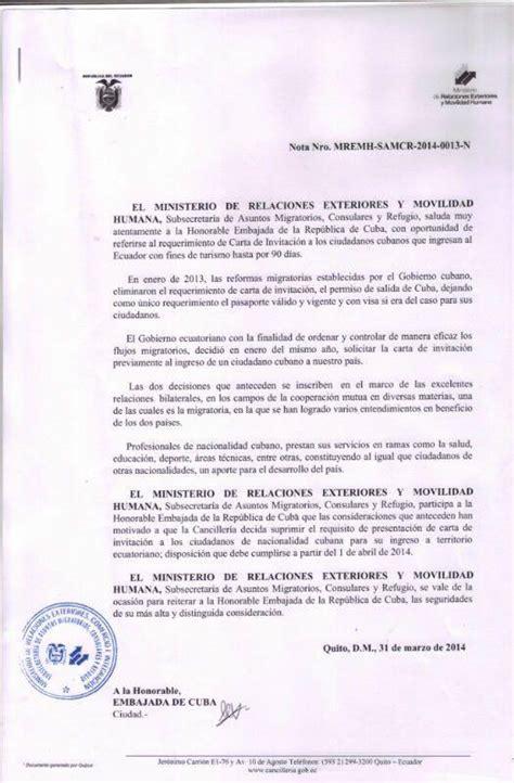 carta oficial requerimiento ecuador suprime requerimiento de carta de invitaci 243 n para cubanos 171 kokacub