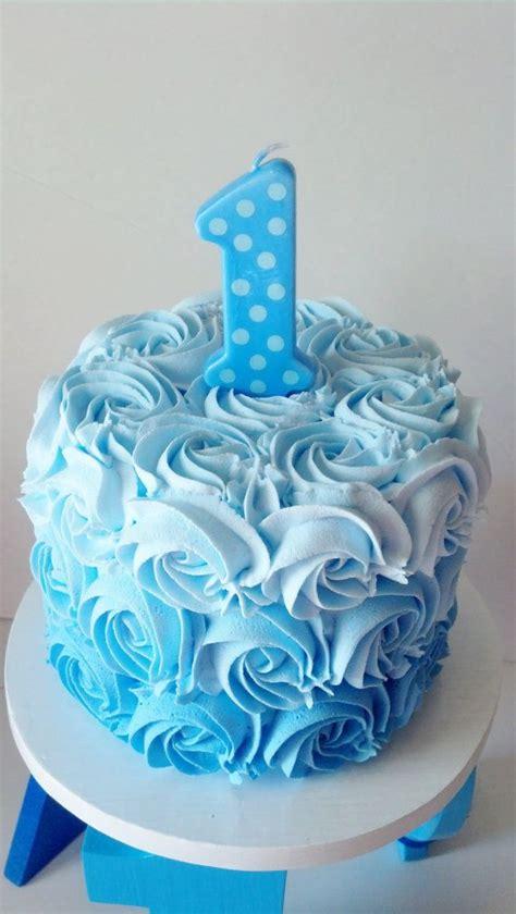 boys blue ombre  birthday fake smash  fakecupcakecreations cake blue birthday cakes