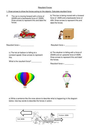 Forces Worksheet by Resultant Worksheet By Lmcl90 Teaching Resources Tes