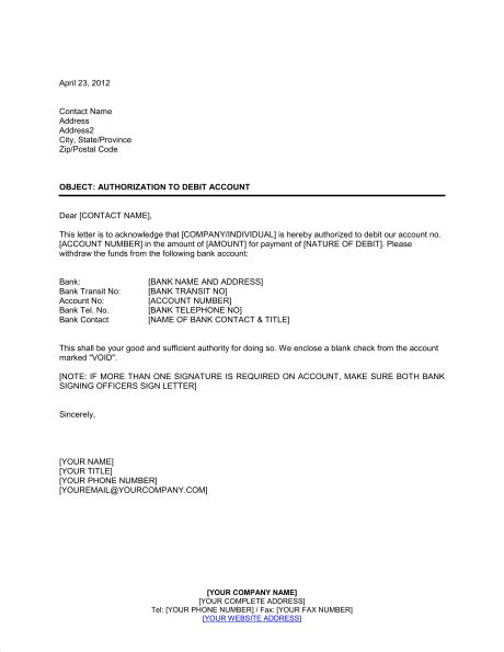 authorization letter for bank debit card authorization to debit account template sle form