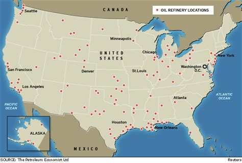 map us refineries us refinery locations map us free engine image for