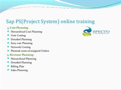 tutorial sap ps sap ps project system online training classes specto