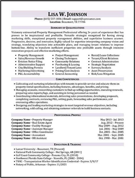 property manager resume exle resume sles types of resume formats exles templates