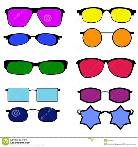 with different colored glasses with different colored lenses stock illustration