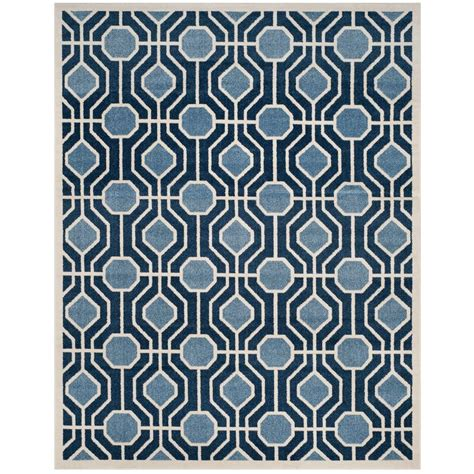 Navy Blue Outdoor Rug Safavieh Amherst Light Blue Navy 8 Ft X 10 Ft Indoor Outdoor Area Rug Amt416q 8 The Home Depot