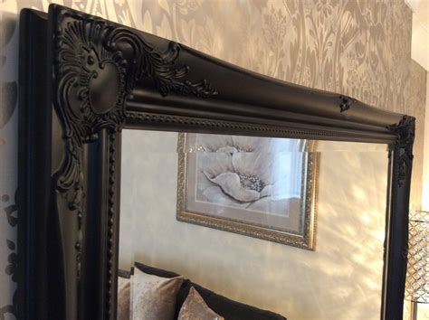 large black shabby chic framed ornate overmantle wall mirror range of sizes