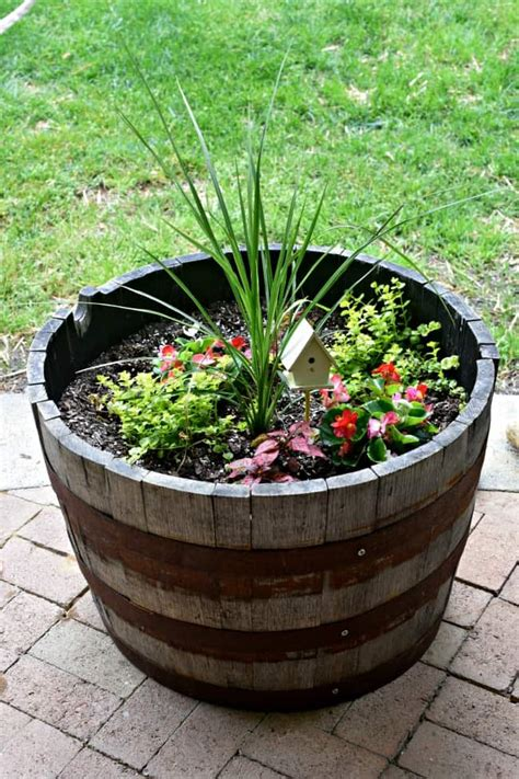 wine barrel planter ideas patio decorating ideas