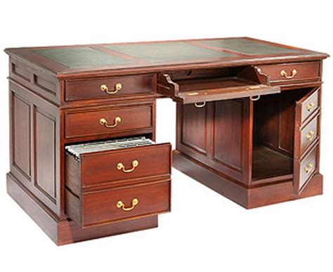 mahogany computer desk large with leather top and brass