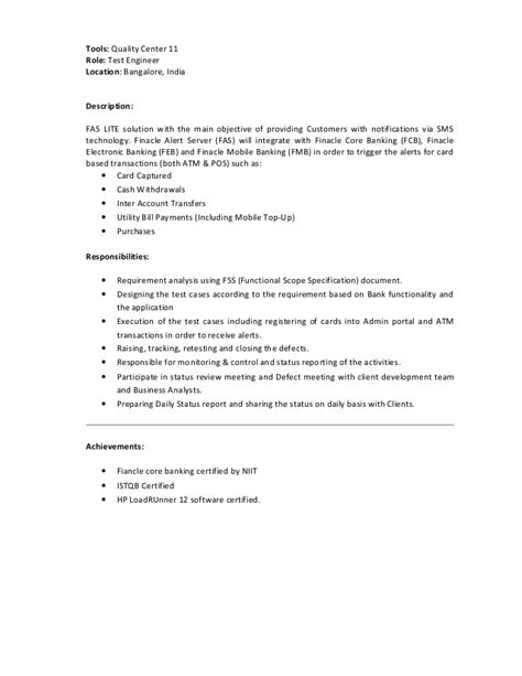 performance test engineer sle resume performance testing engineering cv