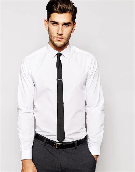 asos smart shirt with tie and tie bar set save 24 in