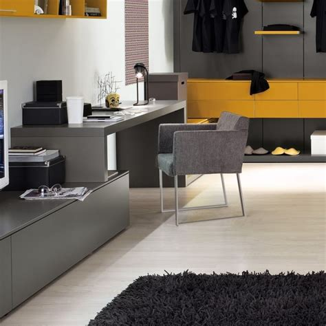 grey yellow home office interior design ideas