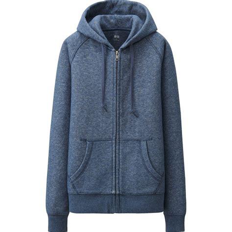 uniqlo blue sweat sleeve zip hooded jacket lyst