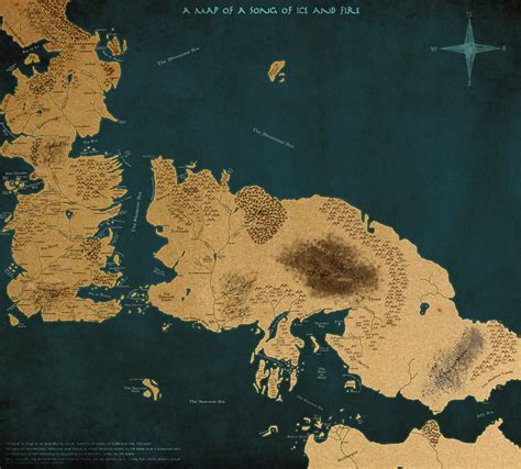 Room Wall by A Map Of A Song Of Ice And Fire Version 2 By