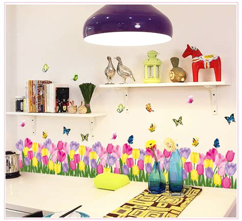 Tulip Wall Stickers colorful tulip butterfly wall border wall stickers decals
