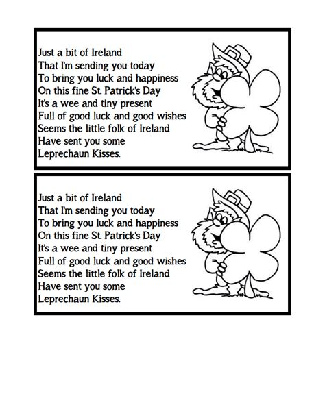 poem from a leprechaun shamrock acrostic poem poem them literacy minute leprechaun kisses poem
