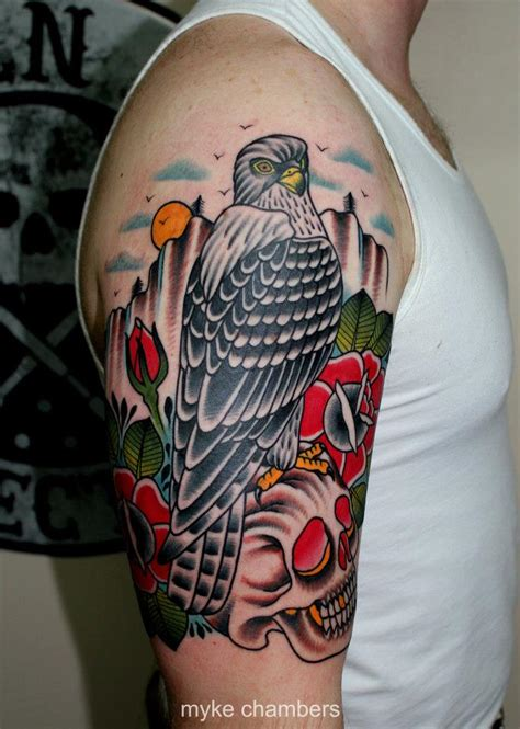 traditional quarter sleeve tattoo traditional eagle on skull with rose tattoo on right half