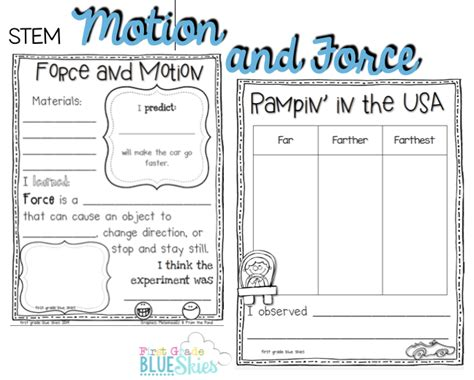 Forces And Motions Worksheets by Stem And Motion Freebie Grade Blue Skies