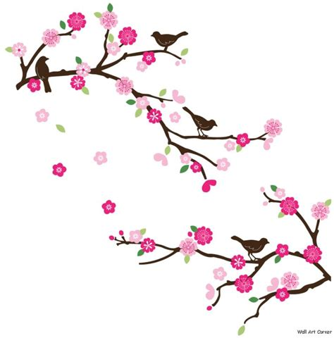 Wall Stickers Bird Cage pink cherry blossom branches and brown birds wall sticker