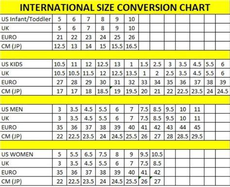 shoe size chart international shoe chart size international