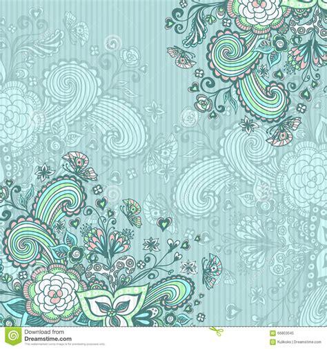 imagenes vintage azul vintage background with doodle flowers on blue stock