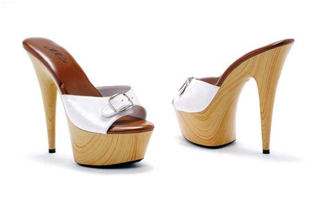 wood grain buckle platform stilettos mules high heels