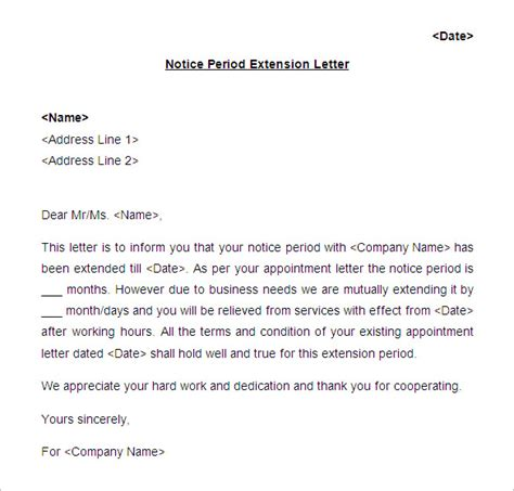 Employment Extension Letter employment contract extension request letter sle