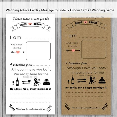 Wedding Advice Cards by Wedding Advice Card Message To And Groom Cards Note To