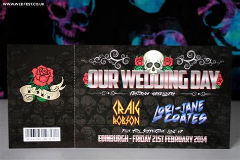 rock wedding invitations skulls and roses rock n roll wedding invites wedfest