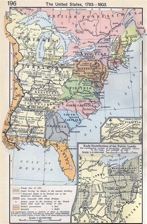 united states in 1783 map map of the united states 1783 1803
