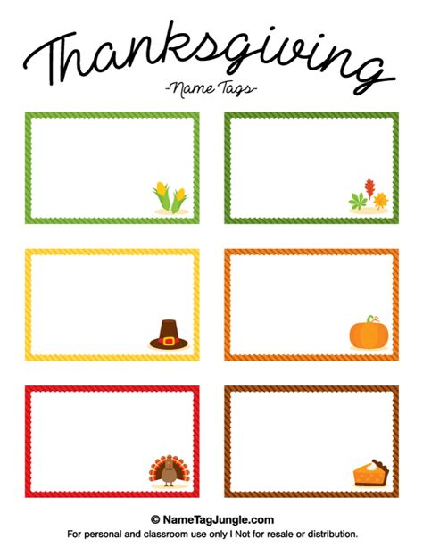 free thanksgiving name card templates printable thanksgiving name tags