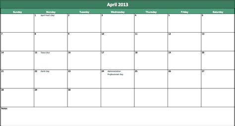 april  calendar  excel templates