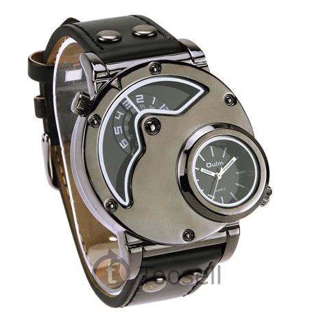 oulm russian army dual time leather band mens