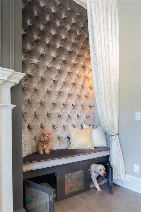 gray velvet tufted bench  built  dog bed