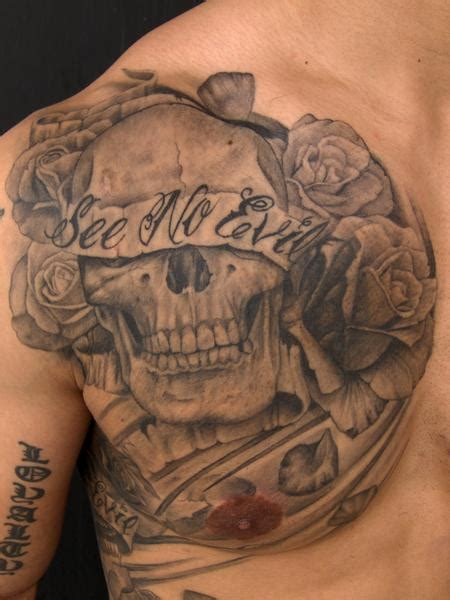 tattoo images evil see no evil skull by pepper tattoos