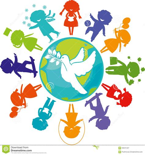 lade da terra on line a dove children and the world stock vector illustration