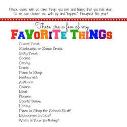 Favorite Things List Template by Everyday Blessings S Favorite Things Printable
