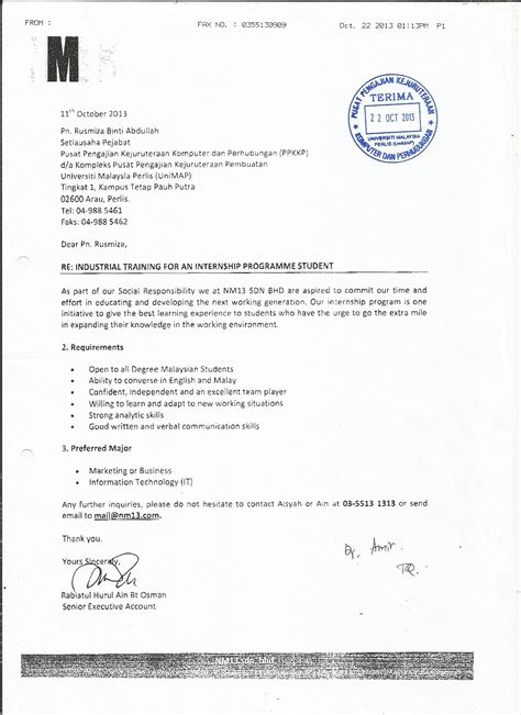 Offer Letter Unimap Eit 302 Industrial Intra