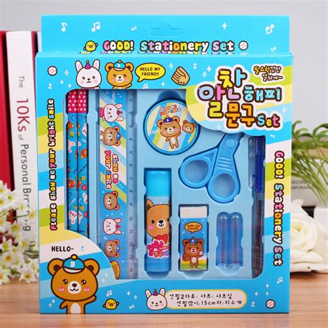 8 Adorable Stationery Kits by 8 In1 Kawaii Notepad Pencil Eraser Ruler Point
