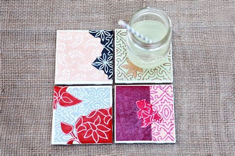 How To Make Handmade Coasters - diy drink coasters from tiles paper