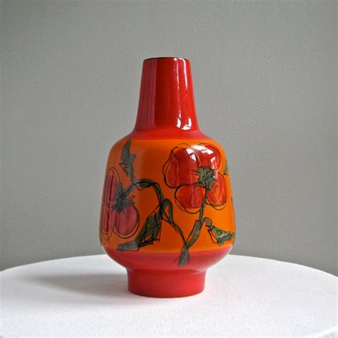 Italian Pottery Vase by Vintage Raymor Italian Pottery Vase In Tomato With Flowers