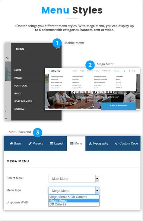 layout menu joomla sj idoctor professional clinic healthcare joomla template