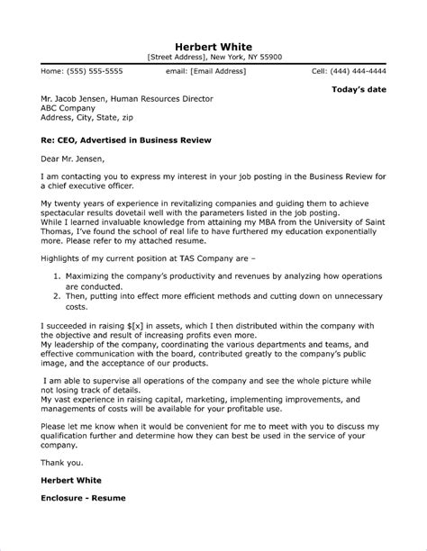 executive cover letter exles ceo executive cover letter sle